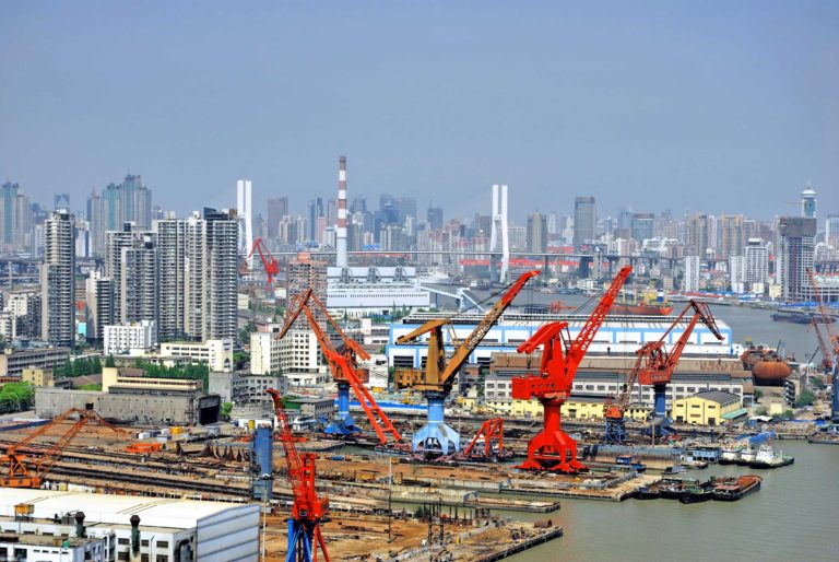 Foundation Capital | Cranes in a port on the Huangpu River, Shanghai, China