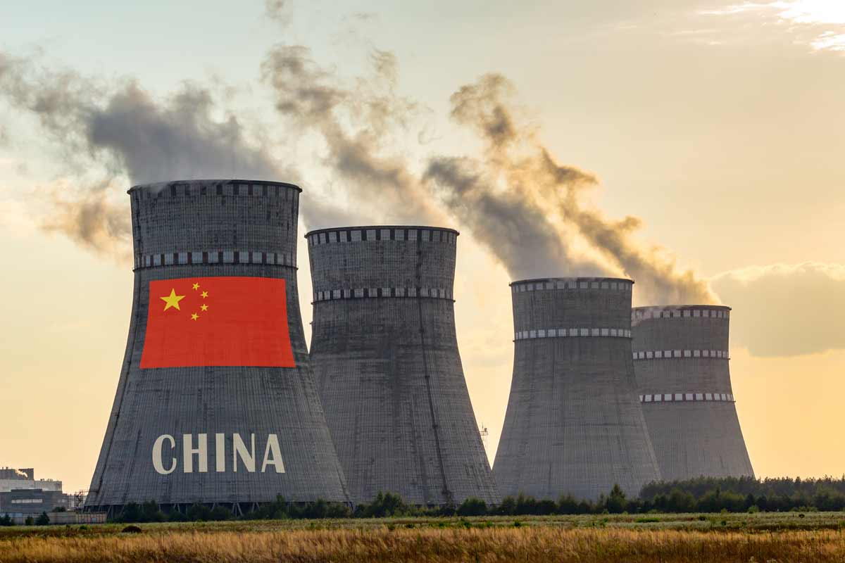 Foundation Capital | Nuclear power plant cooling towers with China flag